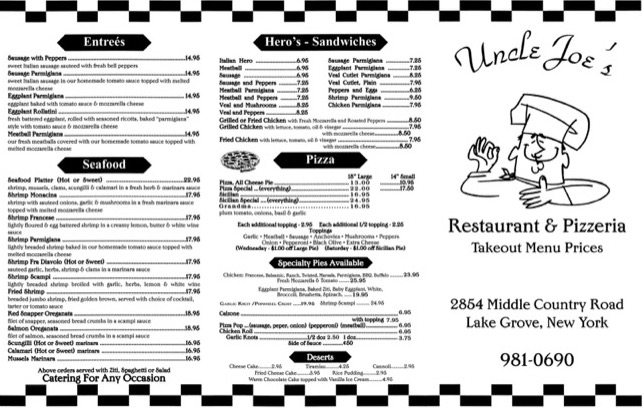Uncle Joe's Menu